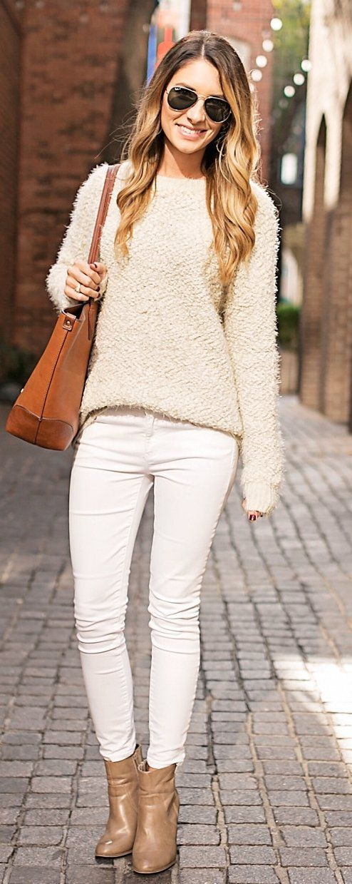 #winter #fashion /  Cream Knit / Brown Leather Tote Bag / White Skinny Jeans / Beige Leather Booties
