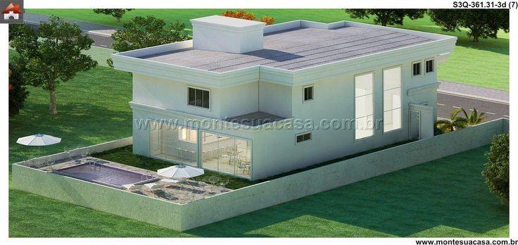 Planta de Sobrado - 4 Quartos - 361.31m² - Monte Sua Casa