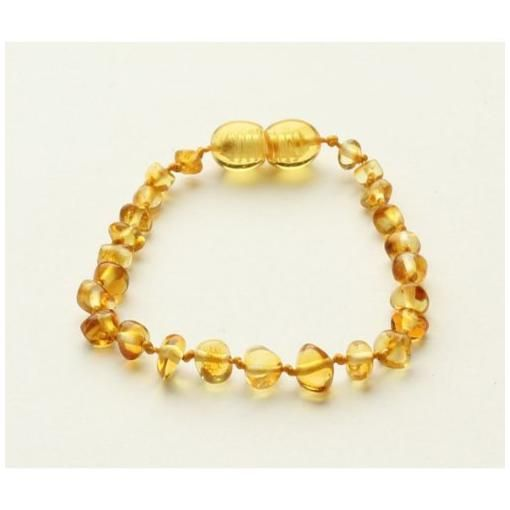 Amber teething bracelet - lemon (round)