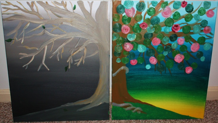 """""""Tree of Life"""" oils on canvas. 2 (16"""" x 20"""") Before & After, personal renaissance: Canvas, Painting, Oil"""