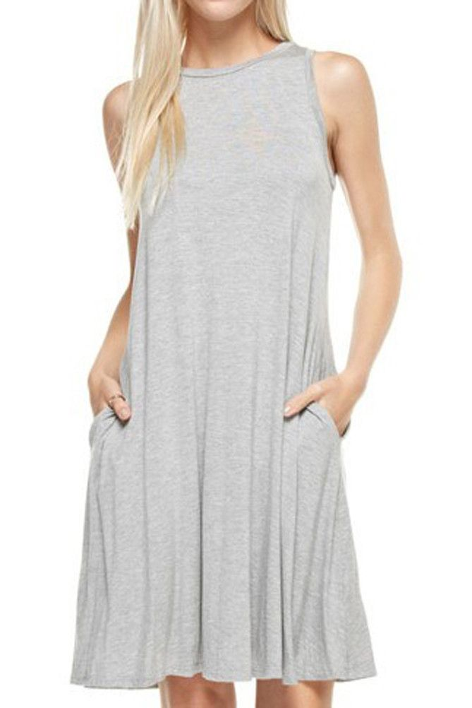 Sleeveless Dress with Side Pockets