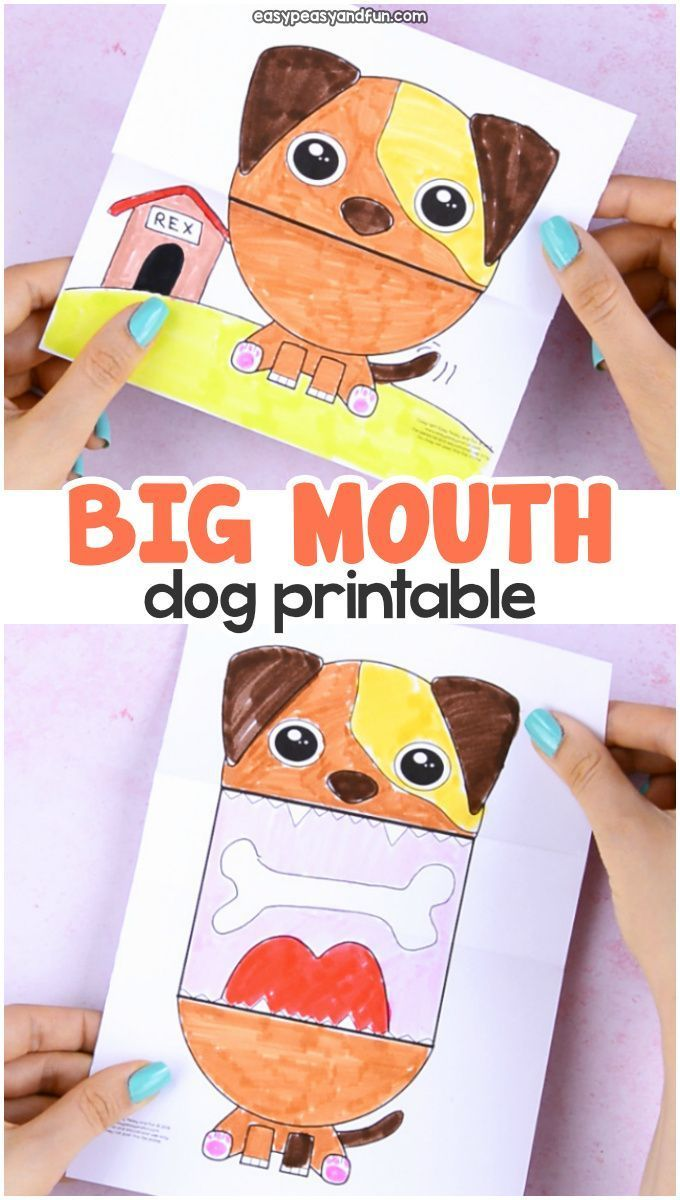 Surprise Big Mouth Dog Printable Paper Crafts For Kids Paper
