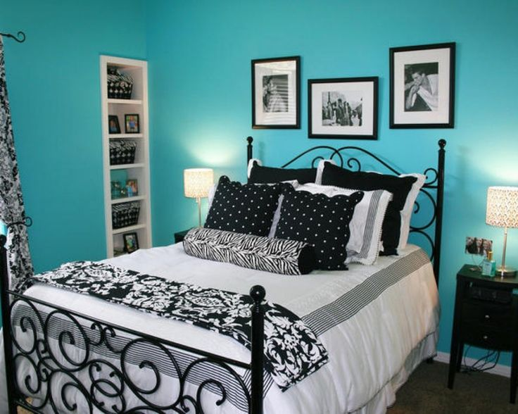 Style Bedroom For Teen Boy With Black White Accent Bedding Design And  Turquoise Wall Paint In