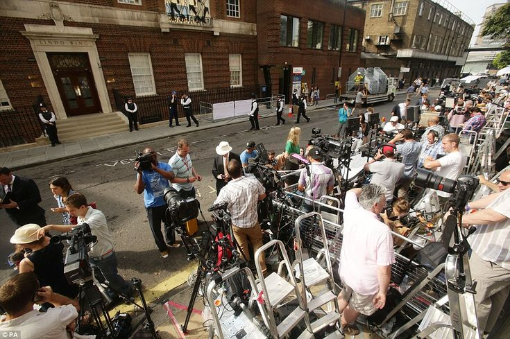 Insatiable: The press and broadcasters from all over the world are crammed into a small area outside St Mary's Hospital as they wait for the royal birth.  #RoyalBaby  #PrinceGeorgeOfCambridge