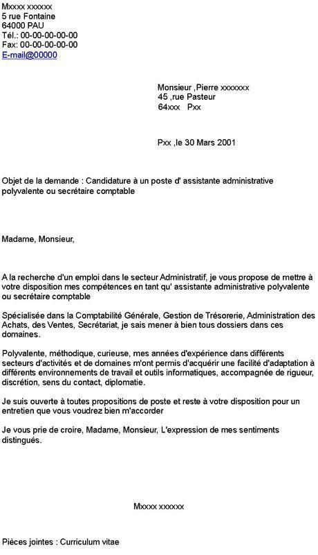 lettre de motivation secrétaire administrative | Lettre de ...