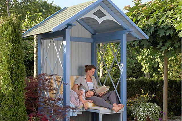 Eine Gartenlaube Zum Wohlfuhlen In 2020 Gartenlaube Pavillon Ideen Gartenhaus Selber Bauen