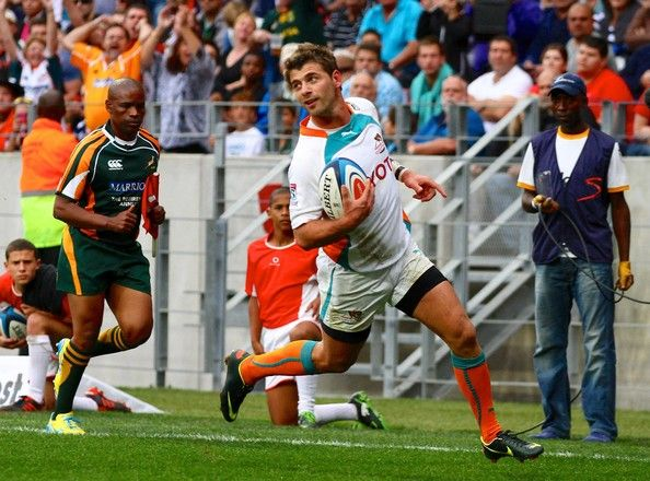 Willie le Roux of the Cheetahs runs in for a try during the Super Rugby match between Southern Kings and Toyota Cheetahs at Nelson Mandela Bay Stadium on May 25, 2013 in Port Elizabeth, South Africa.