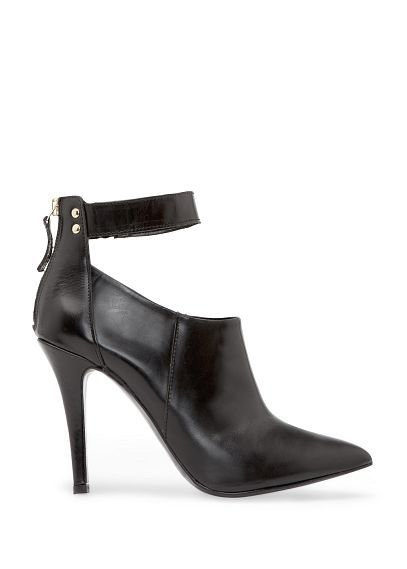 MANGO - Leather strap ankle boots