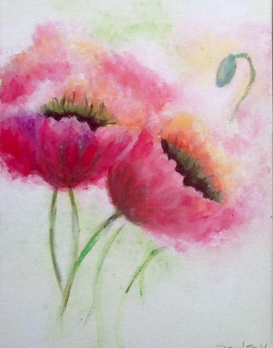 Défi de janvier - le rose - Fleurs de Pavot rose, acrylique sur toile 30x40 : Peintures par magaline-arts