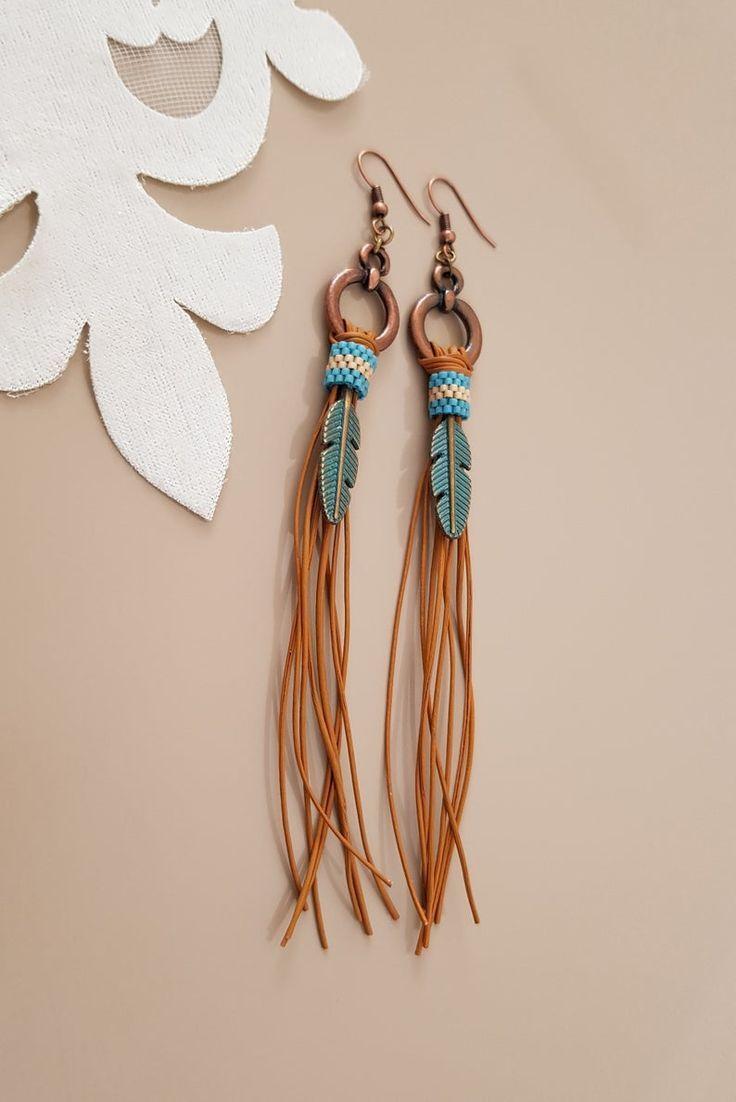 Boho Earrings Leather Earrings Gifts for her Lightweight Earrings Genuine Leather 4 inch length Fringe Earrings Cowgirl Earrings