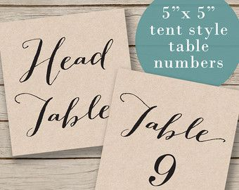 Printable Wedding Table Numbers - Tent Table Numbers - Rustic Table Numbers - Calligraphy Style - DIY Wedding - Print on Kraft  sc 1 st  Pinterest & 8 best Table Number Tents images on Pinterest | Wedding tables ...
