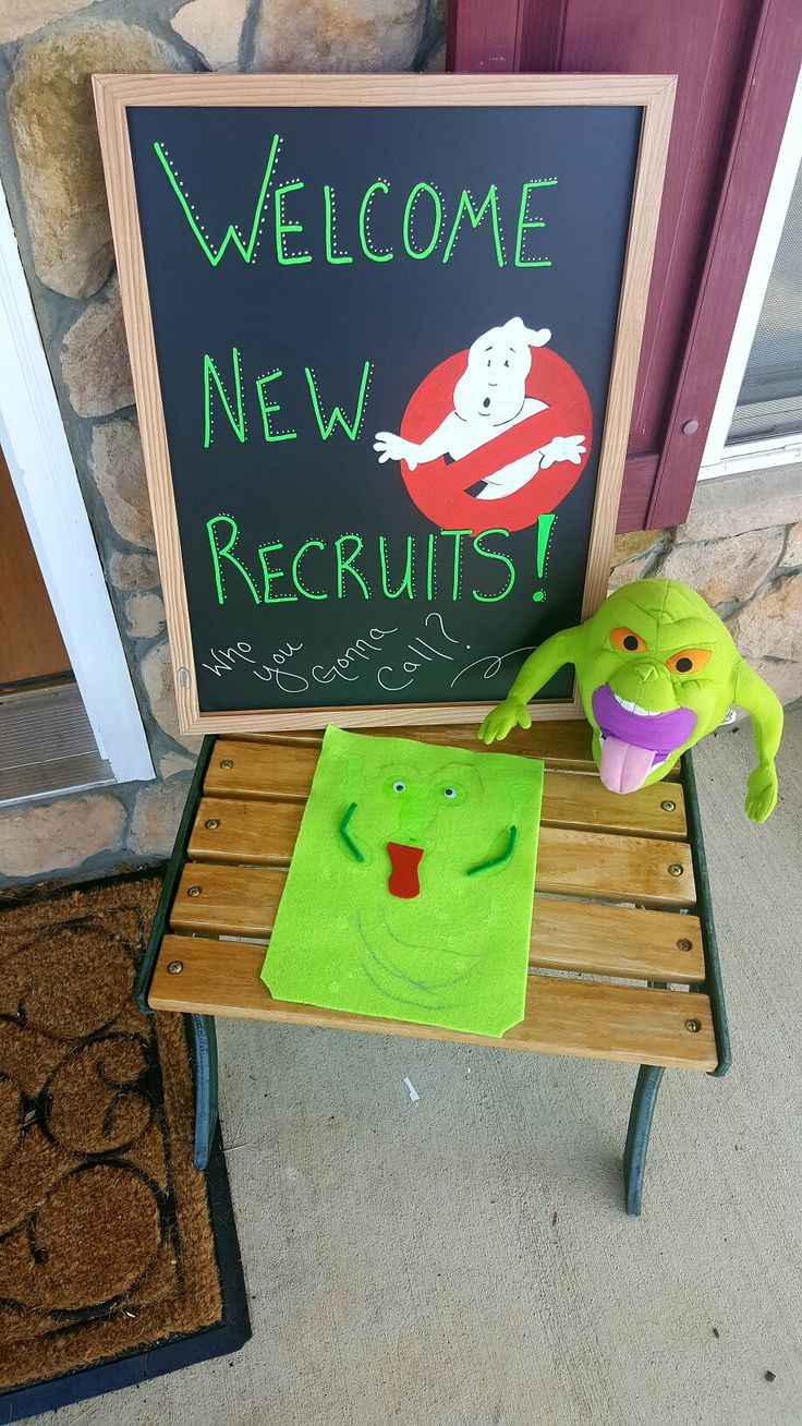 Chalkboard entry welcome (with kiddo's slimer creation and a plush)