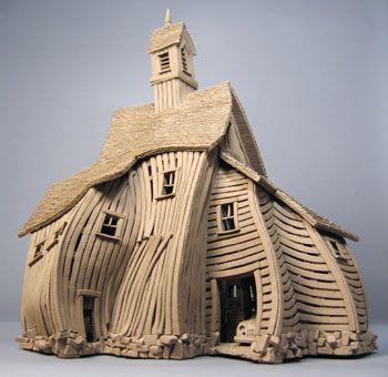 """Vertigo Barn""  a John Brickels, architectural sculpture sing clay. really unique looking work... see more - you'll be happy you did... www.brickels.com/index.html"