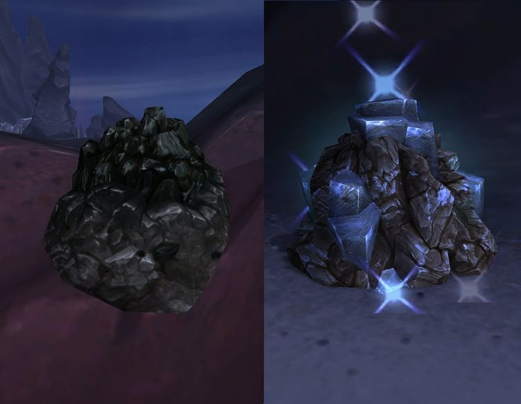 Blackrock Ore Node and True Iron Ore Node, the new mining nodes from World of Warcrafts new expansion Warlords of Draenor, from the Alpha server