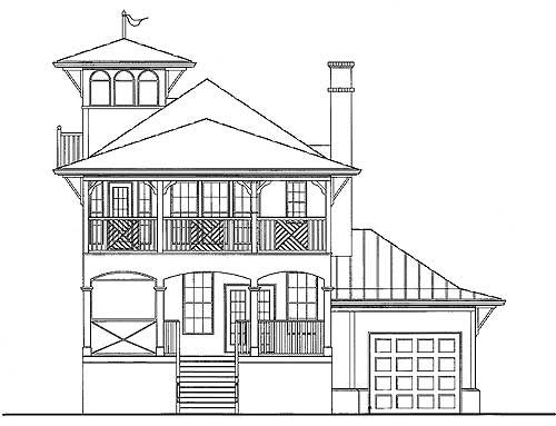 Perfect Plan 15725GE: Beach House With Tower Lookout