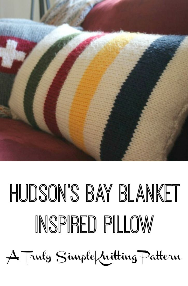 A simple knitting pattern for total beginners or experts alike. How to knit a Hudsons Bay blanket inspired pillow. Classic cabin look with stripes of blue, yellow, red and green. Makes a lumbar sized pillow.