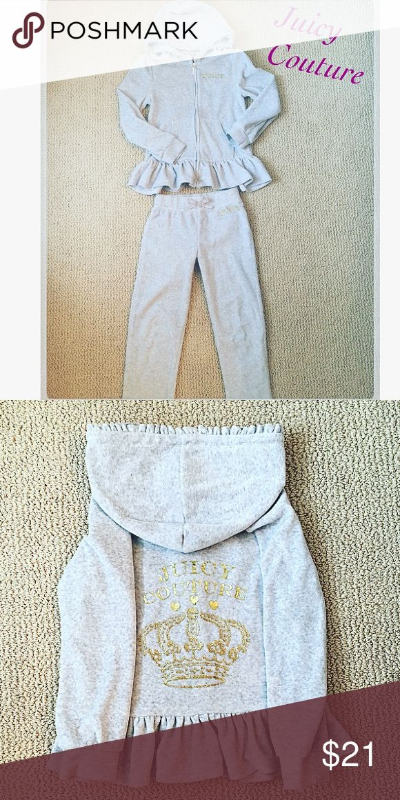 Girl's Juicy Couture sweatsuit, matching set Girl's size 6 matching hoodie and pants, Juicy Couture. Worn twice, in great condition. Grey and gold with cute ruffle detailing. Juicy Couture Matching Sets