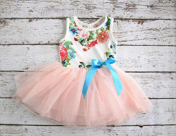 Girls Easter Dress - Vintage tulle tutu Easter dress- baby Easter dress- floral pink coral peach turquoise - Girls, toddler, infant dress on Etsy, $26.00