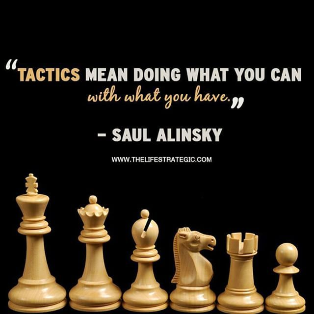 """Tactics means doing what you can with what you've got."" - S. Alinsky #chessquote #chess #tactics #strategy #candoattitude #success #quote ... #Chess found on Instagram by @WebsterMcN and http://ift.tt/1jHQ4Ht"