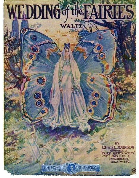 vintage song sheet cover, circa 1909...   inkspired musings: Fantasy Cottages with Fairies