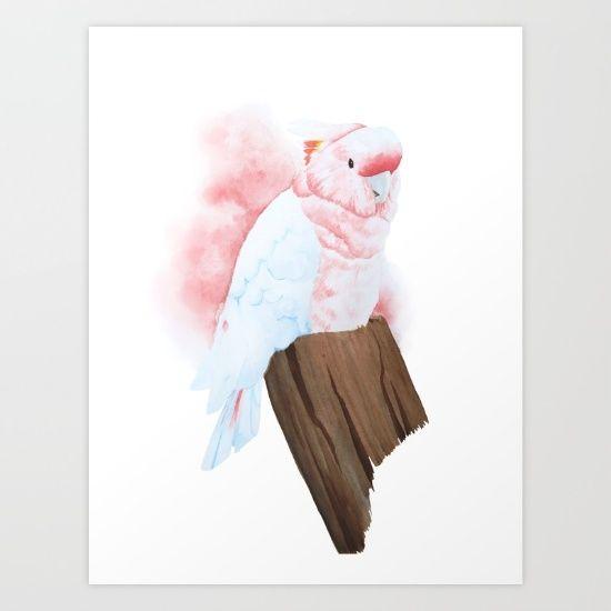 Major Mitchell cockatoo bird watercolour