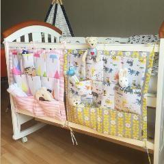 [ 28% OFF ] 100% Cotton Baby Bed Hanging Storage Bag 2016 New Crib Organizer Pockets Storage Bags High Quallity Crib Bedding Accessories
