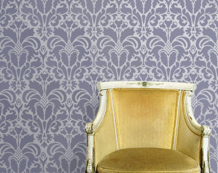 Ikat and damask stencils for a bathroom/accent wall via Olive Leaf Stencils