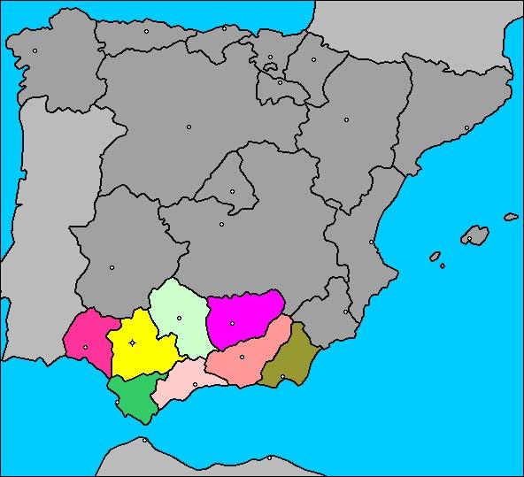 Mapa de la comunidad aut noma de andaluc a espa a - El mundo andalucia malaga ...
