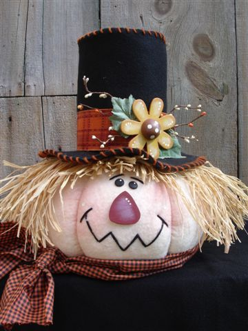 Fall decor: pumpkin scarecrow