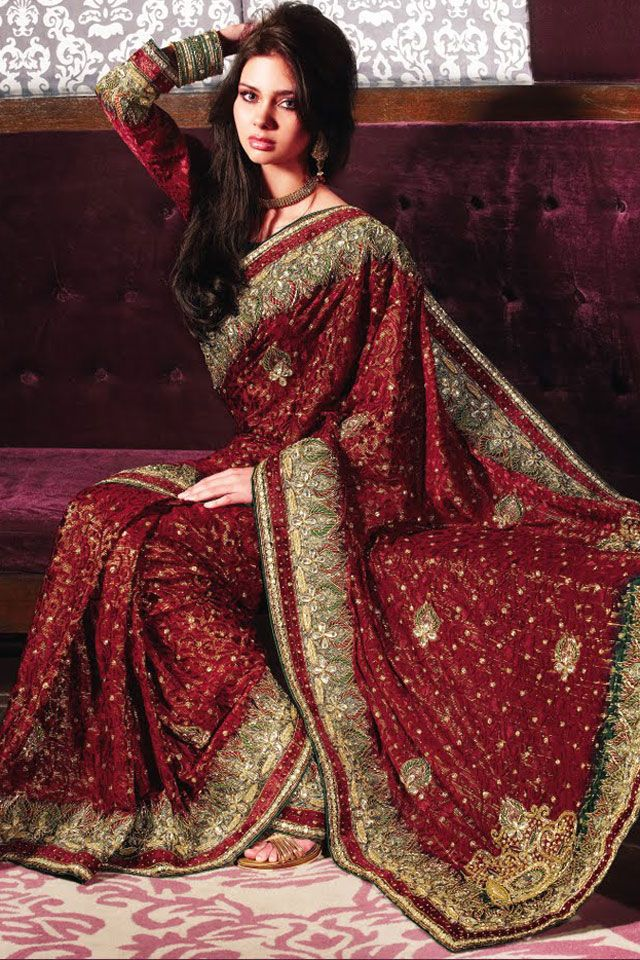 Carmine Red Georgette Embroidered Wedding and Party Saree