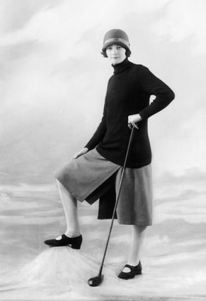 Model in golf wear, 1925. The 1920s saw a huge increase in the number of women pursuing leisure sports. This woman is modelling clothes designed for golfers that include loose shorts and the latest cloche hat. The look was created at the Bassano Photographic Studio, 38 Dover Street, Mayfair. The image was published in Ladies Field Fashions.