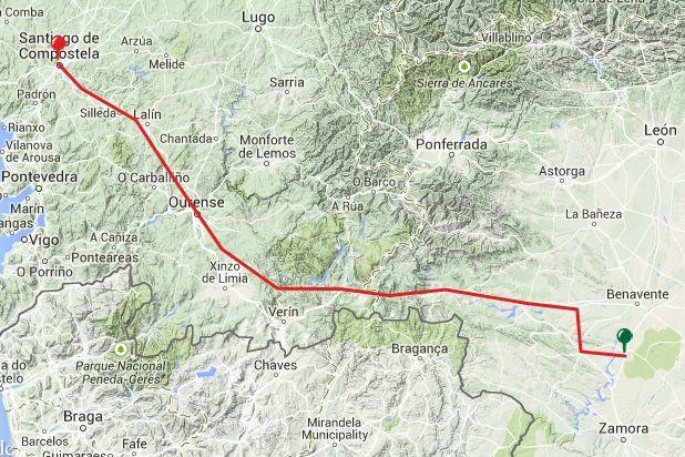 Viewranger Gps Routes For The Camino Sanabres Granja Moreruela Ourense A Laxe Santiago De Compostela 13 Stages 366km Camino De Santiago Ponferrada Santiago