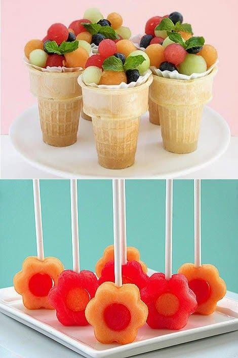 Fruit ice cream cones