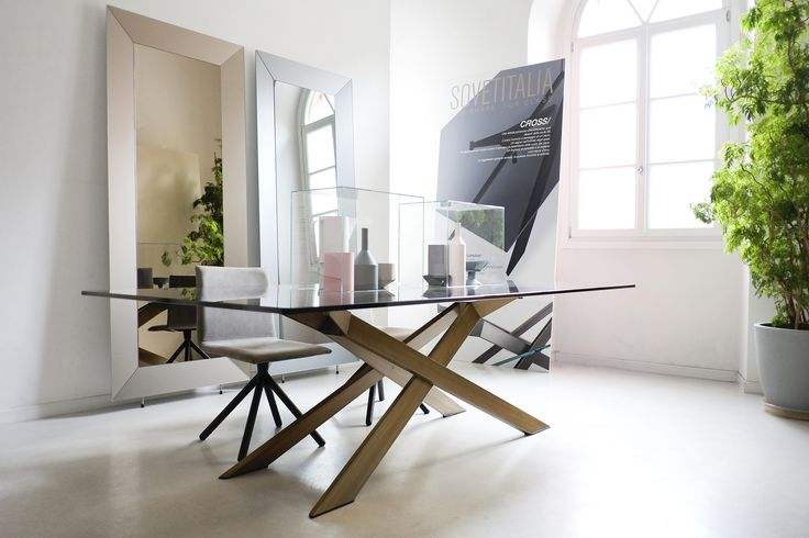 Cross table with burnished metal base