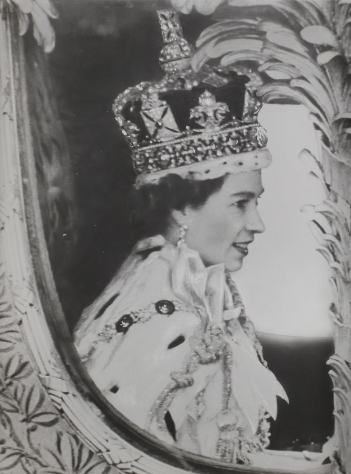 Photograph depicting the Queen Elizabeth on the day of her coronation on 2 June 1953. H. V. McKay Massey Harris.