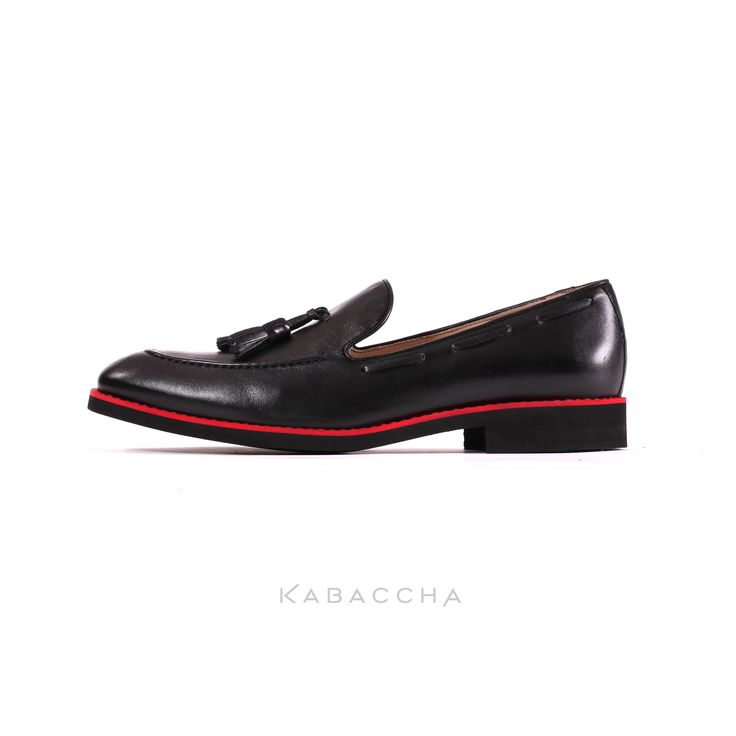Kabaccha Shoes // Black Nappa Leather & Red/ Black Sole Loafer   #KabacchaShoes #Loafers