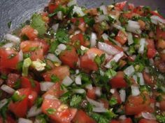 """Pico de Gallo translates to """"rooster's beak"""" in English (when you dip tortilla chips into it, your thumb and forefinger loosely resemble a pecking chicken or rooster!)So cute! I LOVE fresh pico de gallo in the summertime for snaking on with white corn chips, or with my favorite Mexican creation! Cool and refreshing with a kick! You can make this as hot or mild as you like.(Photo from bing images)"""