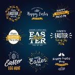 Easter labels. Vintage Happy easter stickers, hand drawn lettering. Vector graphics set.