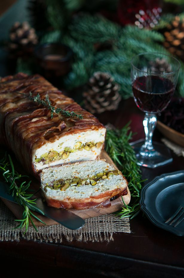 Christmas chicken terrine | Gourmantine, Made with carrot, celery, parsnip, rosemary, bacon, & pistachios plus Red wine onion jam and Horseradish lime cream