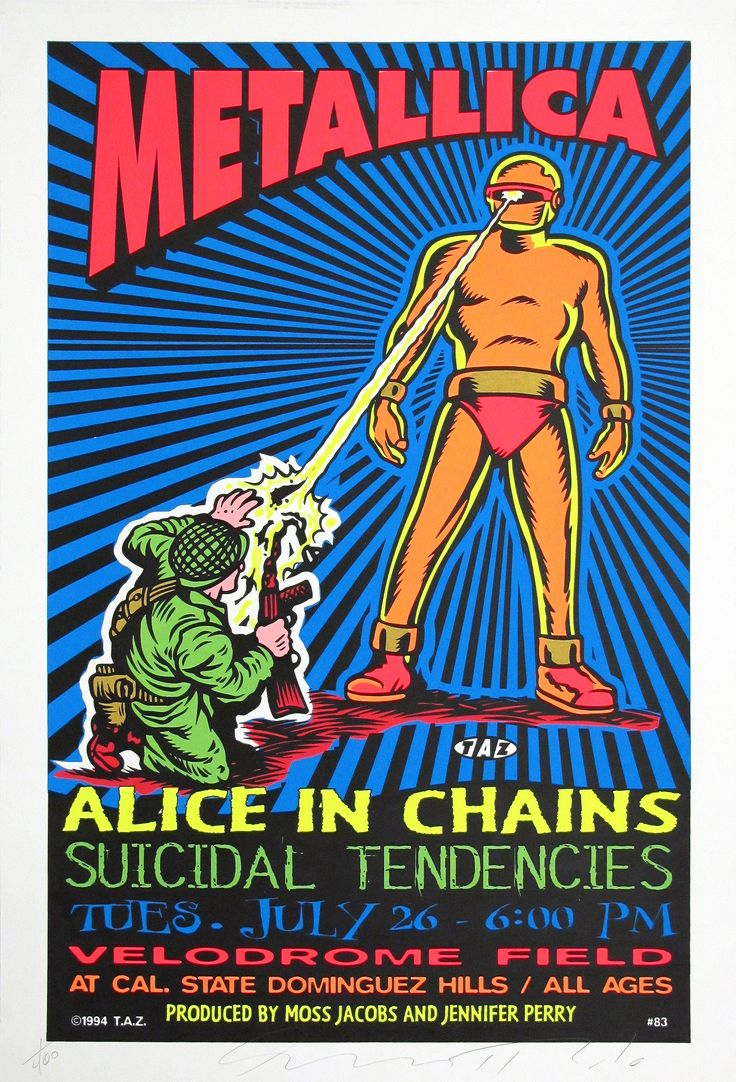 Design poster for concert - Rock Tour Posters Metallica And Alice In Chains Original Concert Poster By