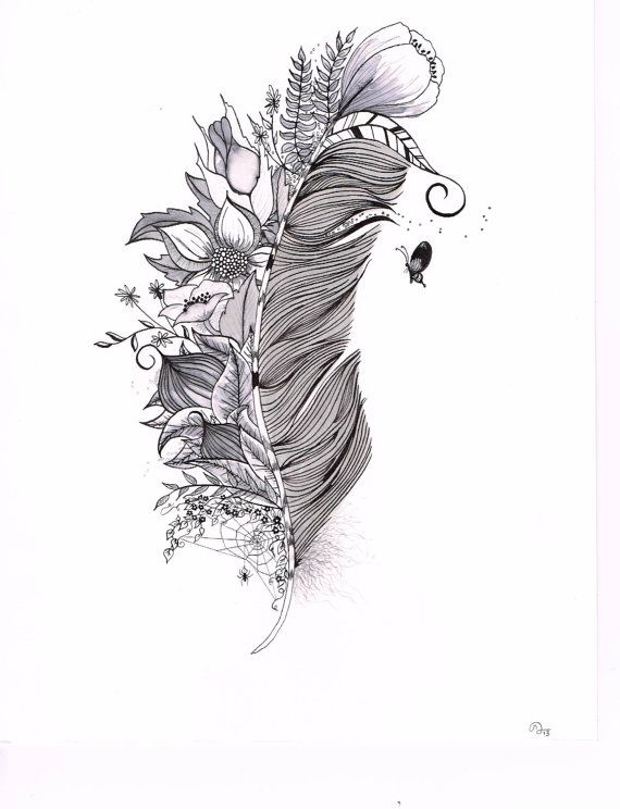 Feather Drawing, Original India Ink drawing or tattoo design by SlowDesigns on Etsy, $47.00