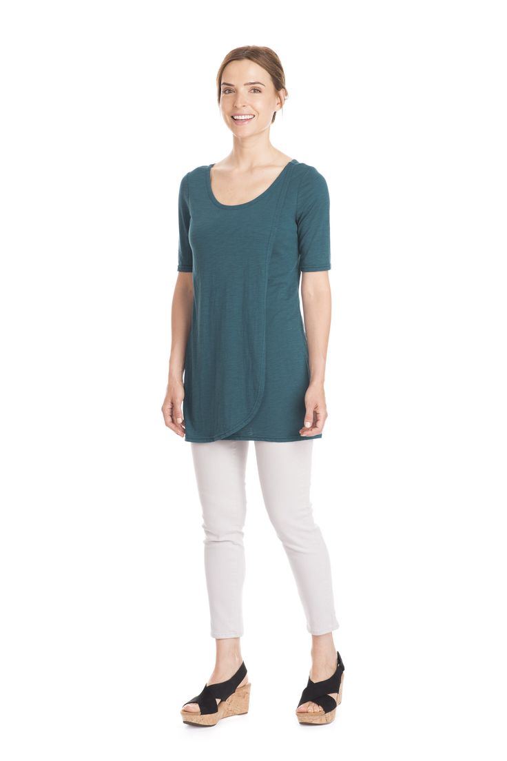 Teal bamboo organic cotton overlay tunic with scoop neck by Jennifer Fukushima.  Made in Canada. Photo by Julie Riemersma.