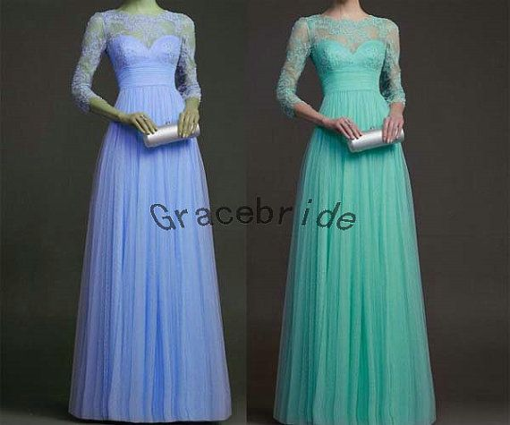 long organza dresses with delicate appliques bridesmaid dresses with 3/4 lace sleeves prom dress elegant homecoming dresses on Etsy, $149.00