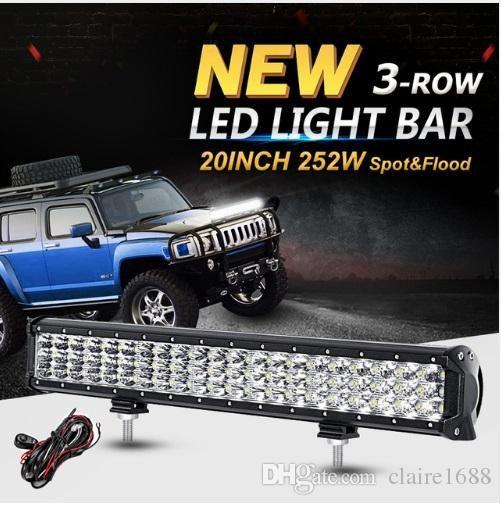 20inch 252W 3-Row 6D CREE Chips LED Light Bar Offroad Combo Beam 4x4 Led Work Light Bar DC12v 24v for Trucks SUV ATV 4WD - $156.99