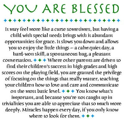 love note to special needs parents: you are blessed.Autism Awareness, Faithgift Inspiration, Special Quotes, Child With Special Needs, Chd Quotes, Special Needs Children, Syndrome Awareness, Inspiration Quotes, Autism Sons