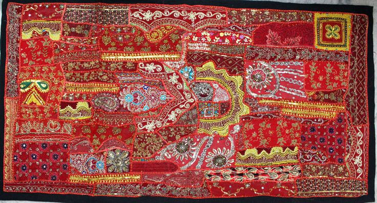 Traditional Tapestry Zari Moti Mirror Embroidery Work Wall Hanging Table Decore #Handmade #AntiqueStyle