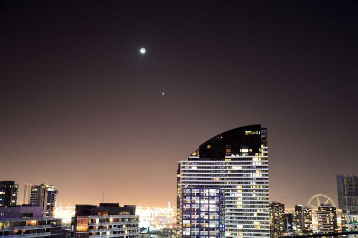 Venus Moon over the docks