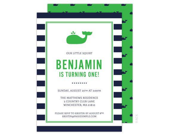 Preppy Nautical Whale Birthday Invitation Boys by paigesimple