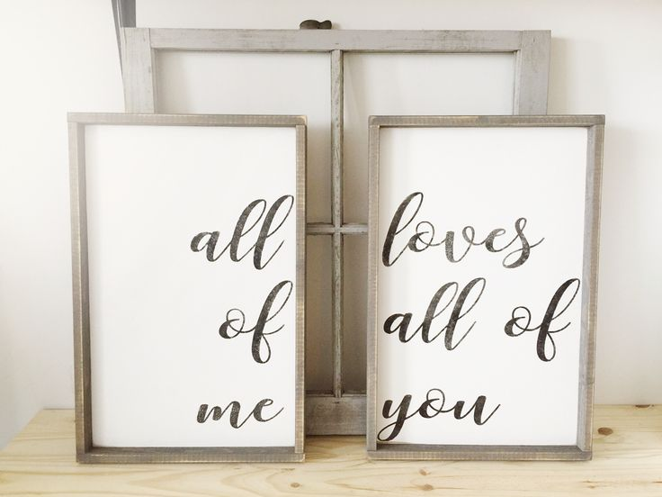 All Of Me Loves All Of You | Beautiful Rustic Bedroom Decor | Farmhouse Bedroom | Farmhouse Decor | Bedroom Design Ideas | Bedroom Decor | Fixer Upper Style | Joanna Gaines | Farmhouse Style | Farmhouse Sign | Wood Sign | Rustic Sign | Shiplap | Rustic Home Decor