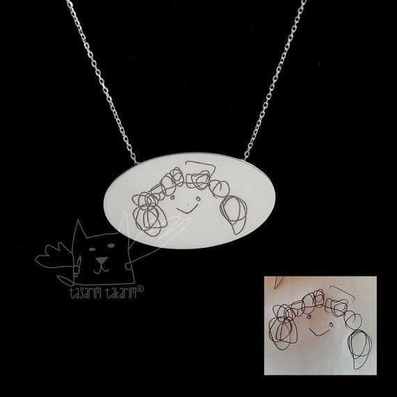 Personalized jewelry, custom made children's drawings jewelry, personalized gift, gift for her